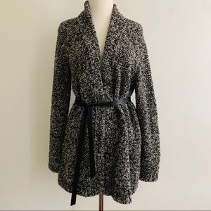 Ann Taylor wool open front cardigan belt Medium
